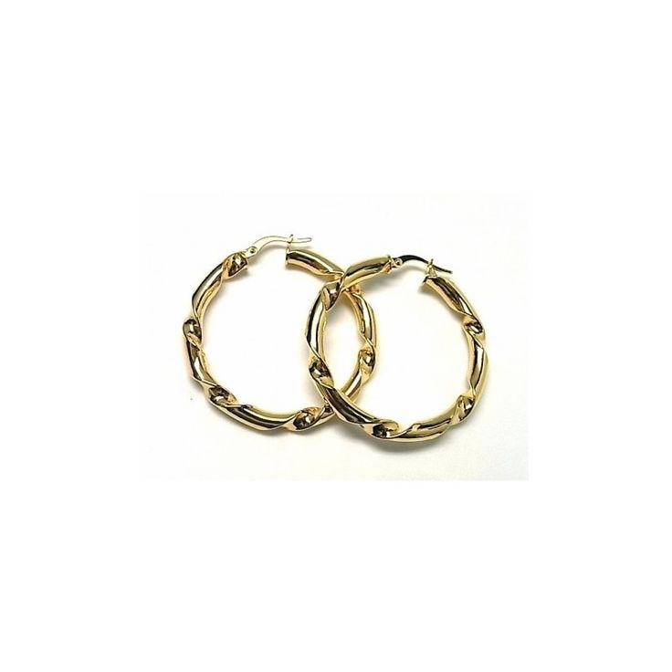 Pendientes de plata de primera ley chapada en oro amarillo de aro