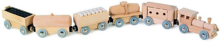"""Treno """"Magnetico""""  €11,90  Numero di pezzo per scatola:1    6 elementi, la locomotiva e i vagoni sono collegati tramite calamite. Dimensioni: 60 cm"""