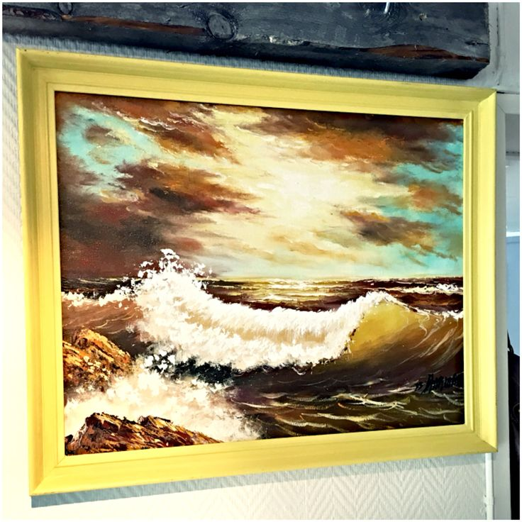 Chalk paint by Annie Sloan, english yellow on the frame. Picture: old oil painting, unknown painter.