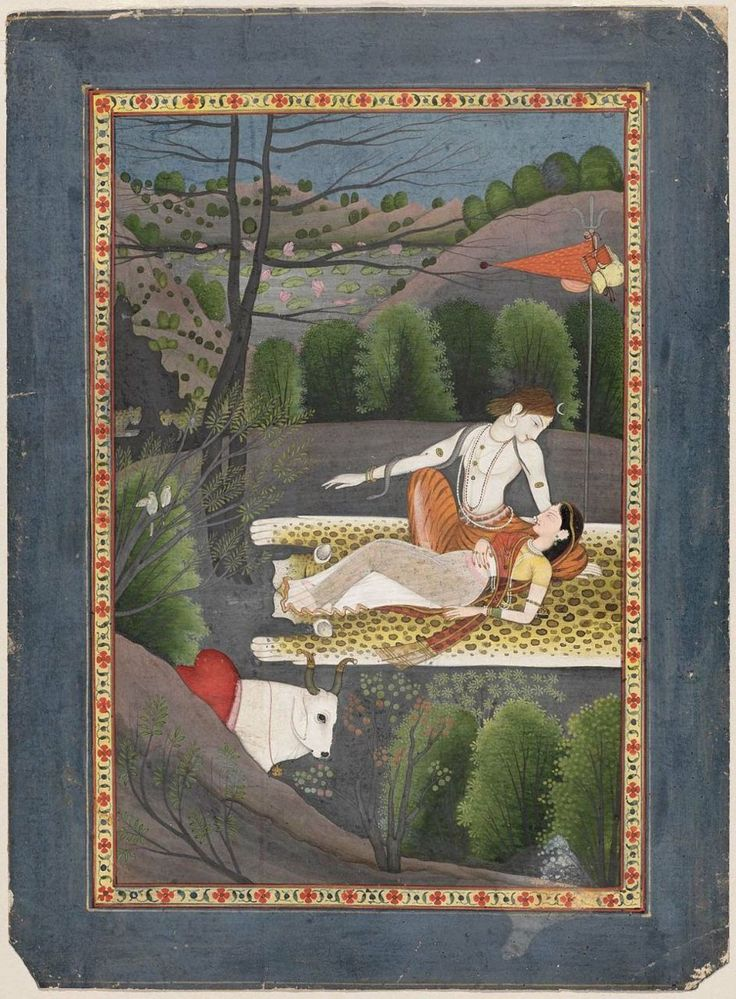Shiva watches Parvati Sleep Indian, Pahari, 1780–90 Garhwal or Kangra, Punjab Hills, N. India. MFA