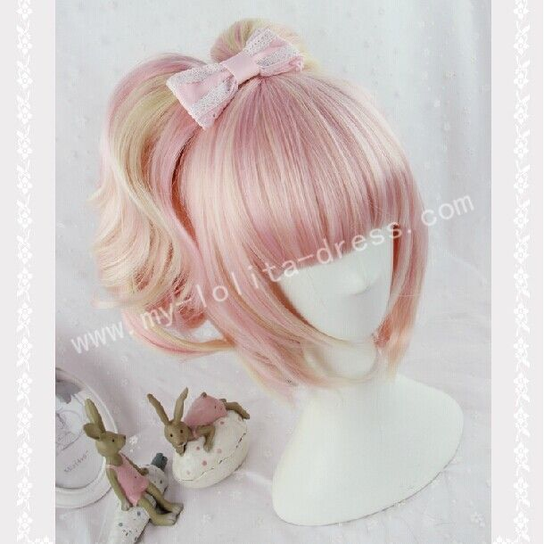 Sweet Pink Moccasin Short Lolita Wig with Two Ponytails
