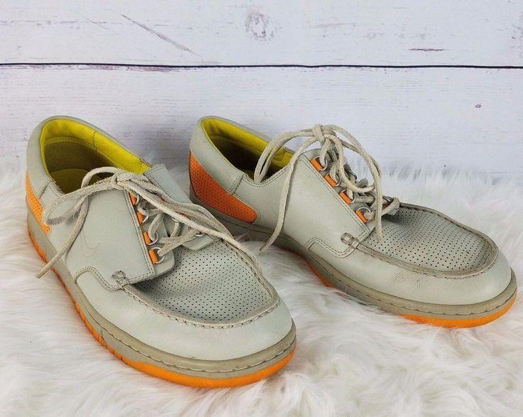 Vintage Nike Mens Loafers Shoes US 12 UK11 Gray Orange Leather Original Laces #Nike #BoatShoes