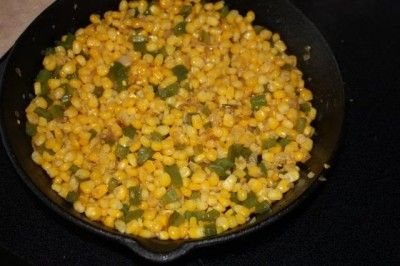 Fried Corn-recipe is a good start, but I cut kernals off leftover corn on the cob instead of frozen.  Placed in my cast iron skillet after sauteeing some sweet peppers and sweet onions in butter.  After a little bit, the corn gets carmelized and a little crispy, and I add some chili powder and cumin.  Awesome way to use up leftover corn