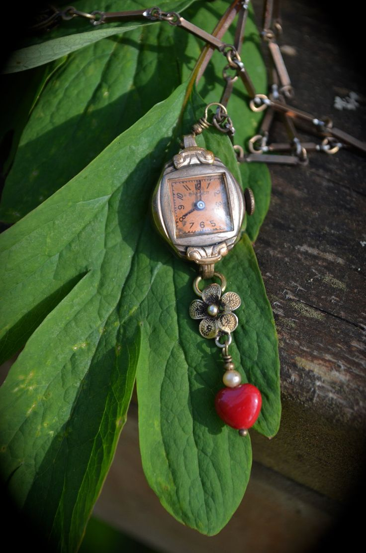 Antique watch necklace Timeless Romance antique watch red heart unique handmade jewelry gift