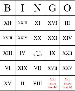 Roman Numerals Bingo Card