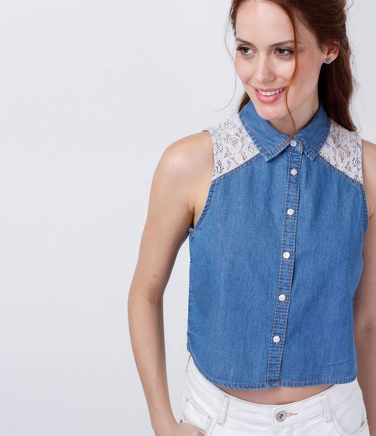 Camisa em Jeans com Detalhe de Renda - Lojas Renner