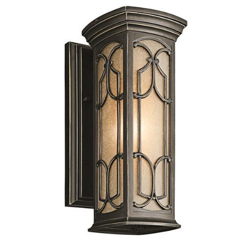 Kichler lighting 49226oz franceasi 14 1 2 inch light outdoor wall lantern
