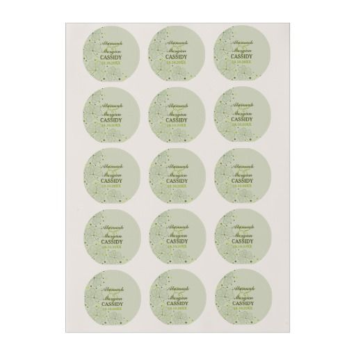 Shamrocks Polka Dots Wedding 2 Edible Frosting Rounds Lovely Irish theme custom icing round with stylized modern Shamrocks and green polka dots on pastel green background. Customize the text with your Names and Wedding date.