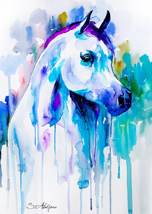 Arabian horse watercolor painting print animal by SlaviART on Etsy, $25.00