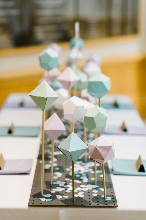 geo table runner, photo by Caroline Lima Photography http://ruffledblog.com/notwedding-charlotte #weddingideas #weddingdiy #geometric