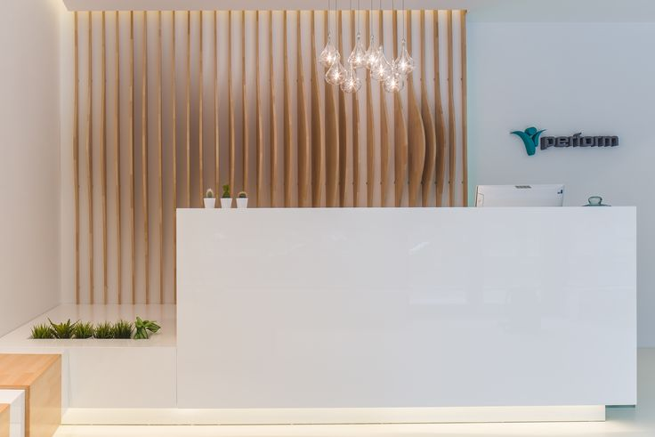 minimalist reception with sitting places in glossy white MDF, digital fabricated massive oak decorative panels orders/price offers at: office@liniafurniture.ro