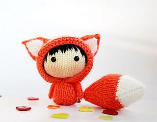 Orange Fox Doll with removable tail - pdf knitting pattern by Tatyana Korobkova