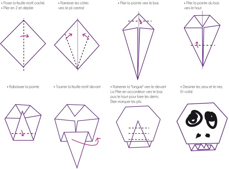Pliage t te de mort tuto diy origami cp pinterest bricolage et or - Tete de mort origami ...
