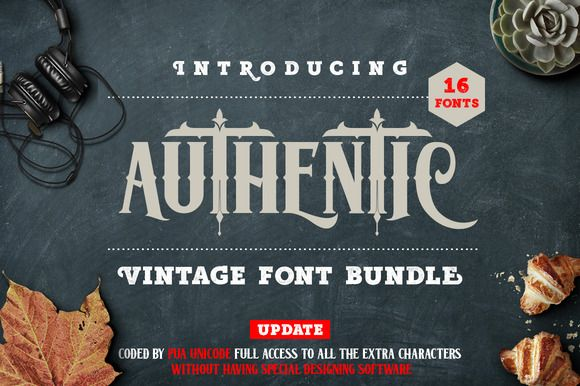 Authentic Vintage Fonts Bundle by lostvoltype on @creativemarket