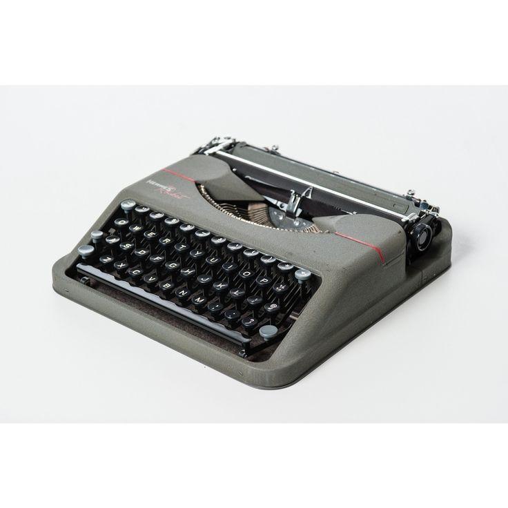 Macchina da scrivere funzionante in metallo portatile Rocket del 1941 grigia e nera