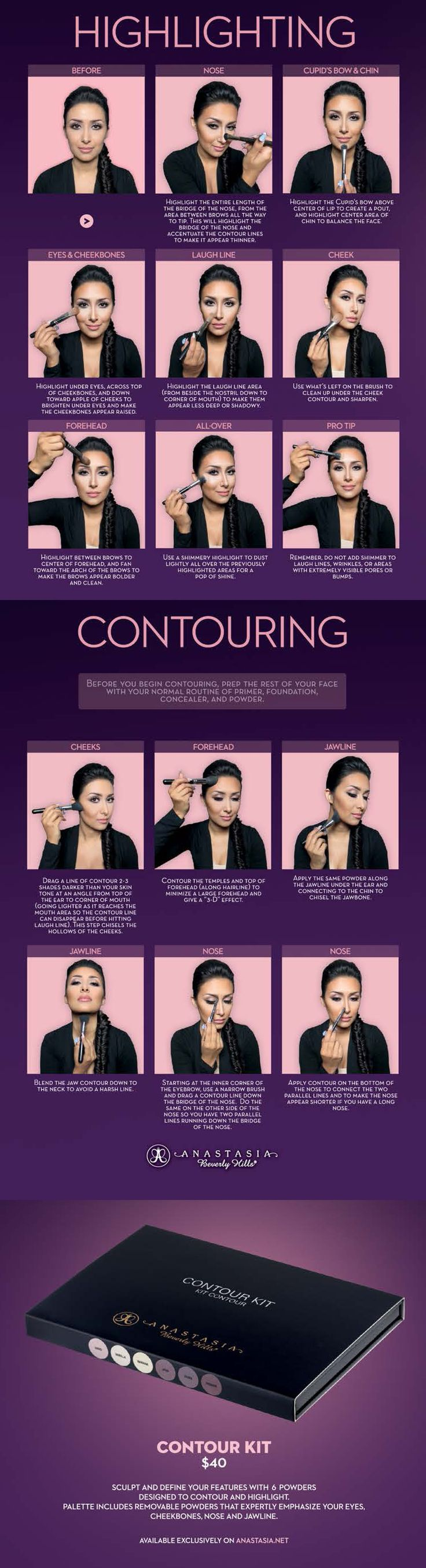 Highlighting contouring HOW TO with the new #Anastasia Contour Palette featuring Tamanna Roashan.