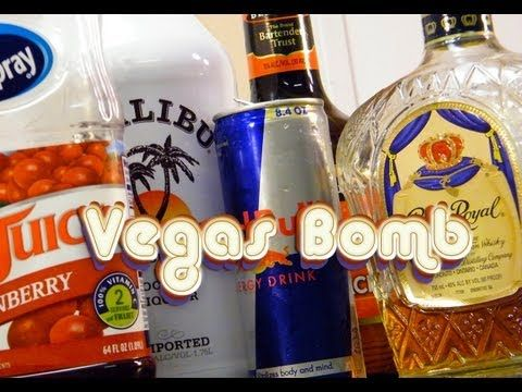 Viva Las Vegas Bomb! We're dropping Crown Royal, Malibu, peach schnapps, and cranberry juice into Red Bull, and DAMN, it is good. Party on, my friends.