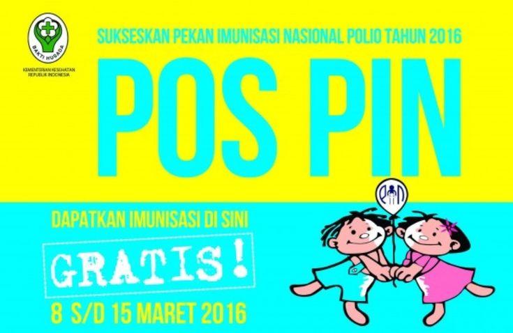 Pencanangan Program Pekan Imunisasi Nasional (PIN) bebas Polio tahun 2016 digelar. untuk tahun ini, pencanangan program tersebut akan dilakukan di UPT Puske