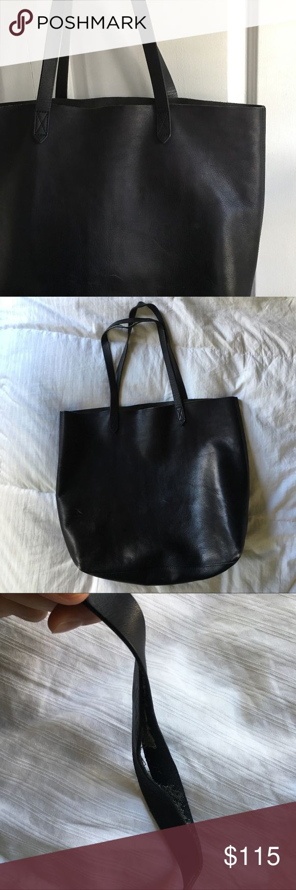 Madewell Transport Tote in Deep Navy Gently worn. A few discreet scratches but not too noticeable. The corners show wear as well as the one handle that needs to be glued together. This does not affect the sturdiness of the bag. All signs of wear shown in photos. Madewell Bags Totes