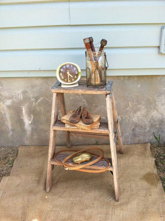 Vintage Step Ladder Wooden Stool Repurposed Table