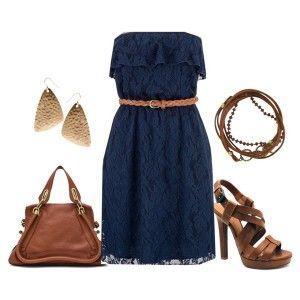 С чем носить коричневые босоножки: синее кружевное платье, кожаная сумка и пояс