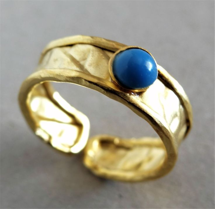 Designer Rarities 24K Gold Plated Sterling Silver Flex Ring Tuoirquise Stone