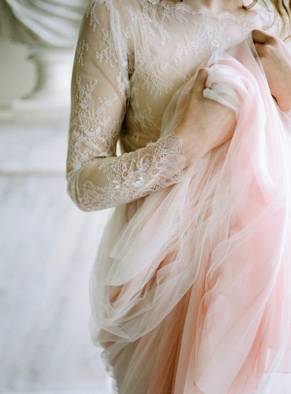 Cherry Williams London pink hue wedding dress with lace and tulle | Irena K Photography