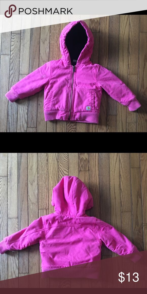 Carhartt toddler girls coat/jacket Pink carhartt coat for baby/toddler girls size 24 months. EUC. Runs big in my opinion, I think a size 2T could fit in this no problem. Thanks Carhartt Jackets & Coats