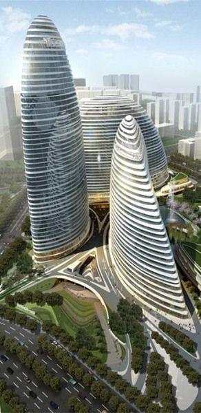 Wangjing SOHO, Beijing, China by Zaha Hadid Architects :: 44 floors, height 200m