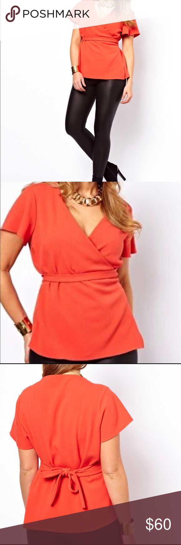 ASOS curve Top With FlutedSleeves And Belted Waist Orange classic top with fancy sleeves. Photos courtesy @asos ASOS Curve Tops