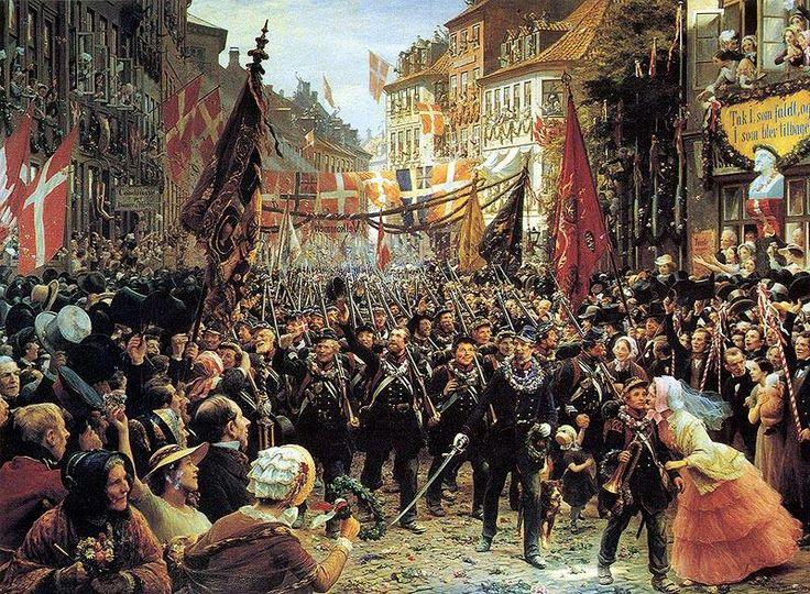 """""""Danske soldater kommer tilbage til København, 1849, af Otto Bache (1839-1927), 1894"""" Danish Soldiers returning to Copenhagen in 1849"""
