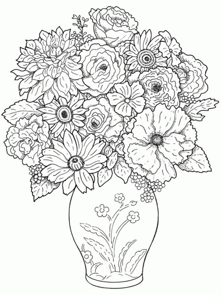 Beautiful Drawings Of Flower Vase