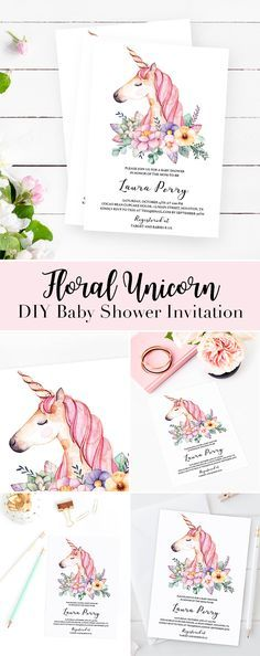 DIY Unicorn Baby Shower Invitations by LittleSizzle. Invitations for a Unicorn Themed baby shower for girls. Customize the template with your own words and send the watercolor unicorn cards to the lucky ones. #babyshowerinvitations #babyshowerideas #unico