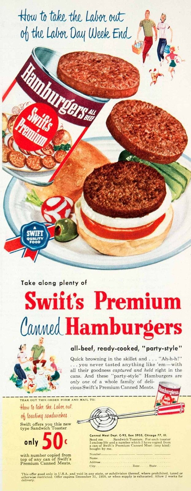 Swift's Premium Canned Hamburgers.