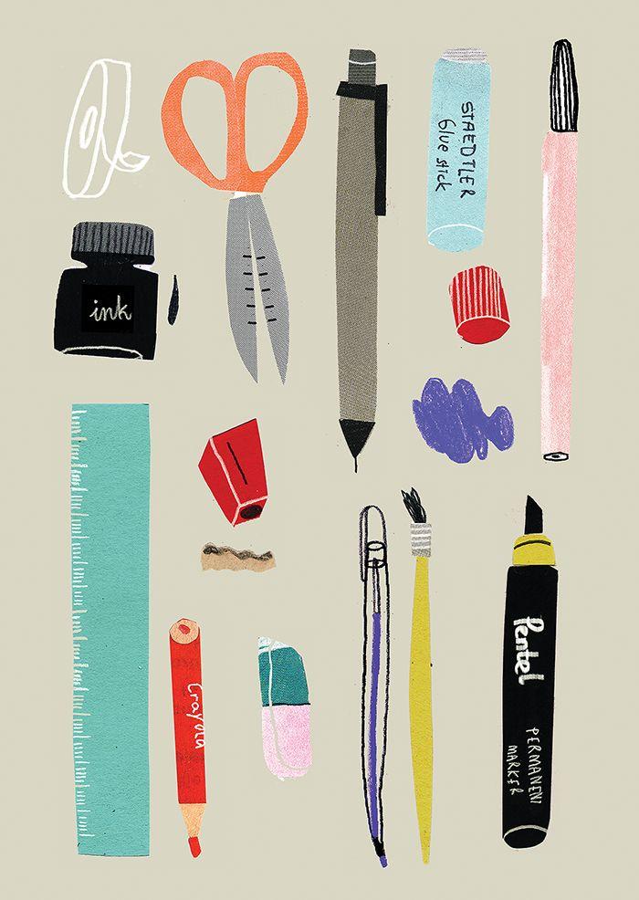 Agata Krolak, stationary, design, illustration, drawing, collage, editorial, colour
