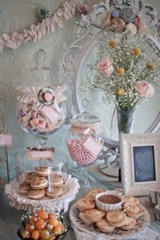 Tea time...so pretty, so feminine!  Look for pretty plates or cake stands when you go to the second hand shops.