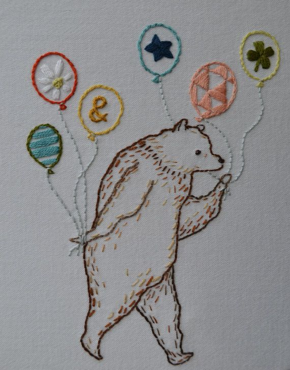 Most Excellent Party Bear Hand Embroidery por FollowtheWhiteBunny, $5.00