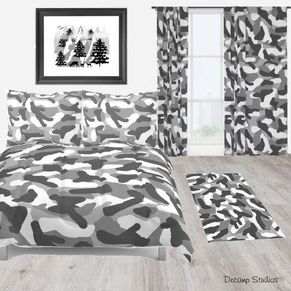 Grey Gray Camo Camouflage Duvet Comforter Bedding Blanket Set Rustic Country Curtains Home Art Decor Bed Decor Simple Decor Decor
