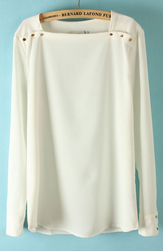 White Square Neck Long Sleeve Shoulder Buttons Blouse