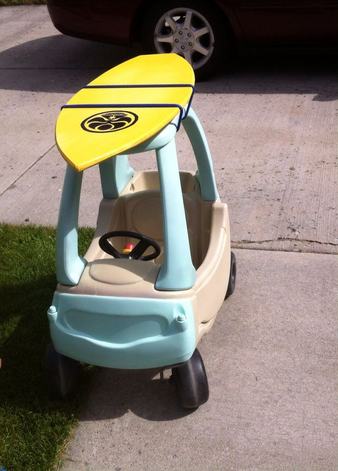 Little Tykes Car makeover into old school surfer mobile complete with wood HIC surfboard!