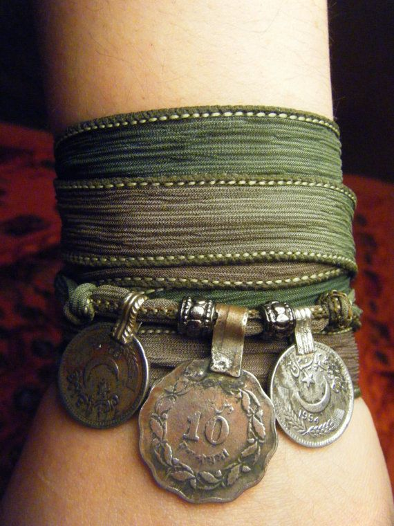 Enchanted Forest Boho Silk Wrap Bracelet with Tribal Kuchi Coins, Gypsy, Bellydance, Yoga Bracelet, Earthy Green Hues w/Silver Accents