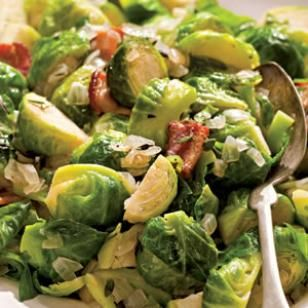 Sautéed Brussels Sprouts with Bacon & Onions — the perfect healthy Thanksgiving vegetable side dish.