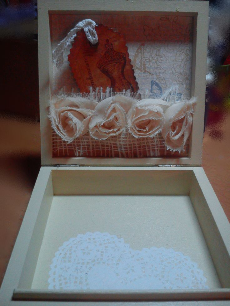 6. mini wooden box, decorated with scrapbook paper, acrylic paints, fabric and metal ornaments