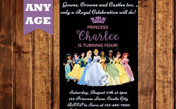 DISNEY PRINCESSES INVITATION, Princess Invitation, Princesses Invitation, Printable Invitation, Princess Party, Invitation for Girl