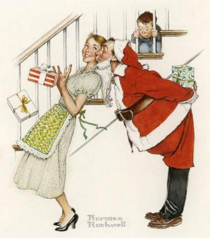I Saw Mommy Kissing Santa Claus ~ Norman Rockwell