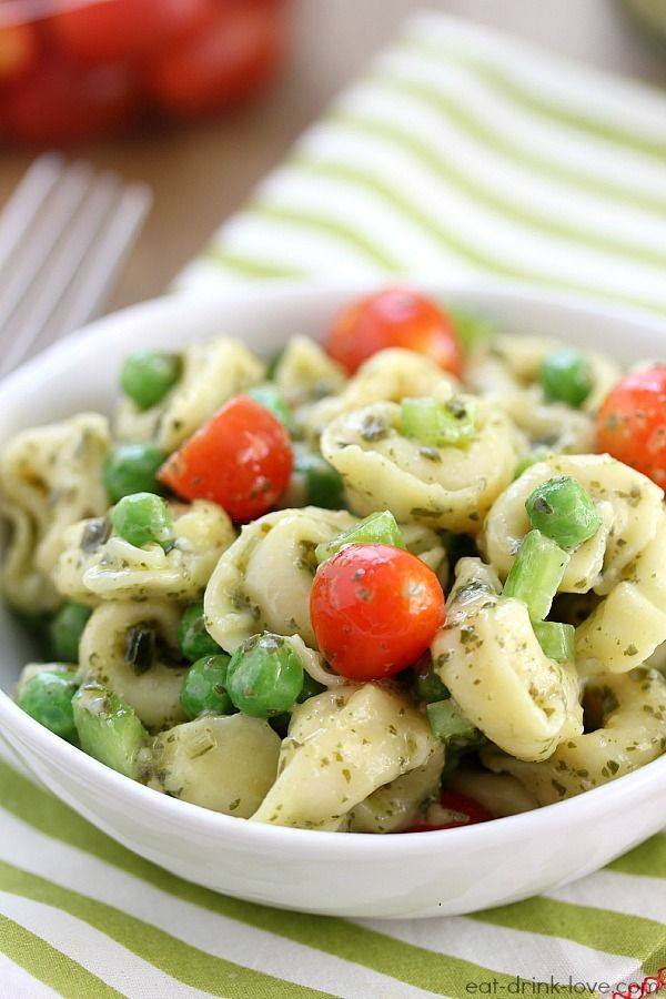 Pesto Tortellini Salad » Eat. Drink. Love.  I'd add feta and red peppers.  Remove peas