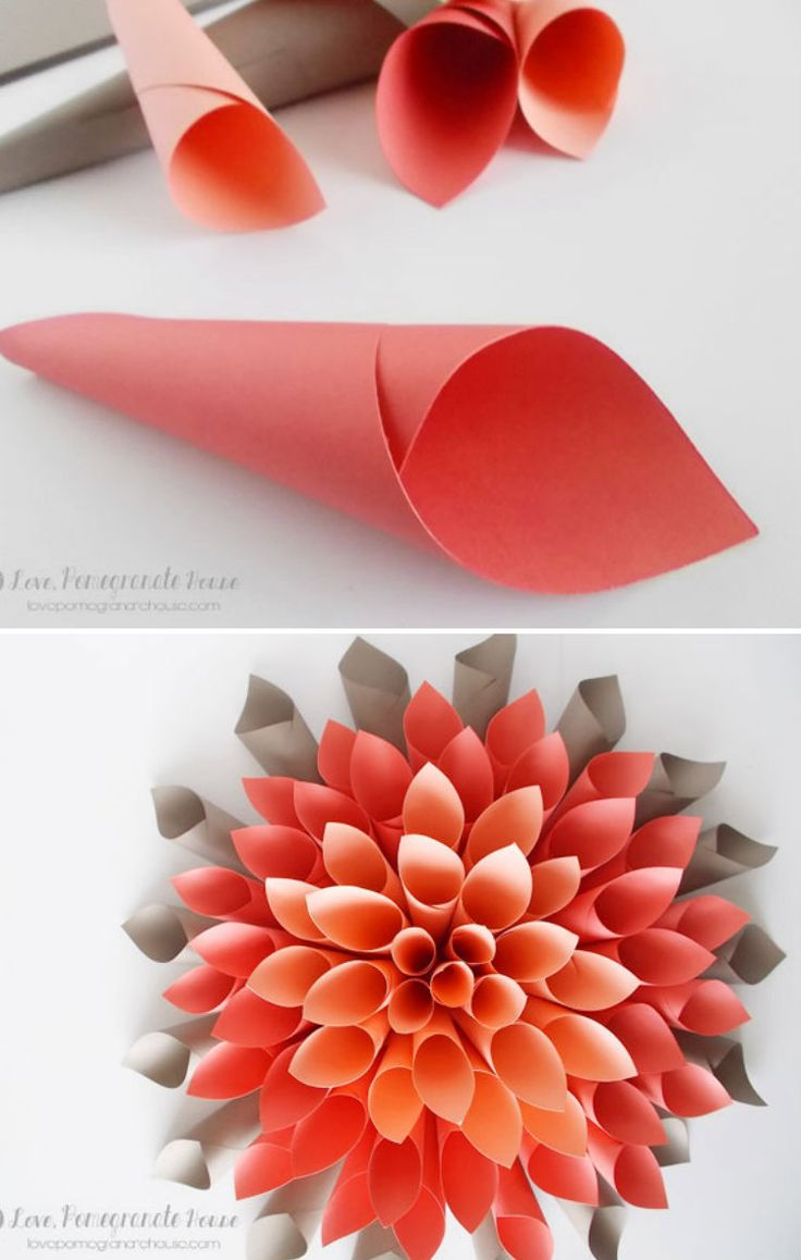 Room decoration with paper cuttings - Paper Dahlia Wreath