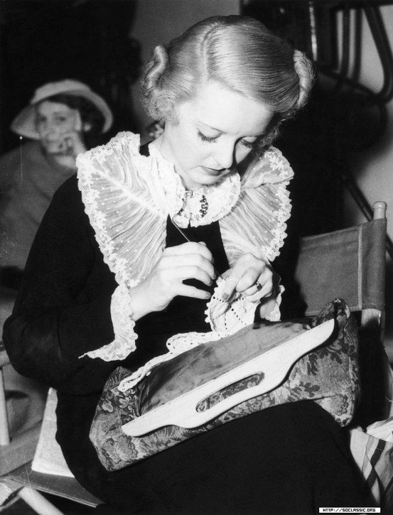"""Bette Davis crocheting. In the movie """"The Letter"""" she crochets lace to make a bed cover."""