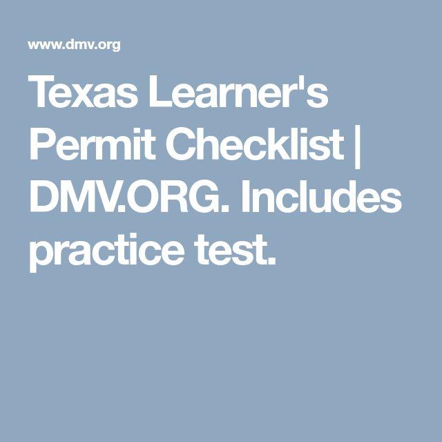 Texas Learner S Permit Checklist Dmv Org Includes Practice Test