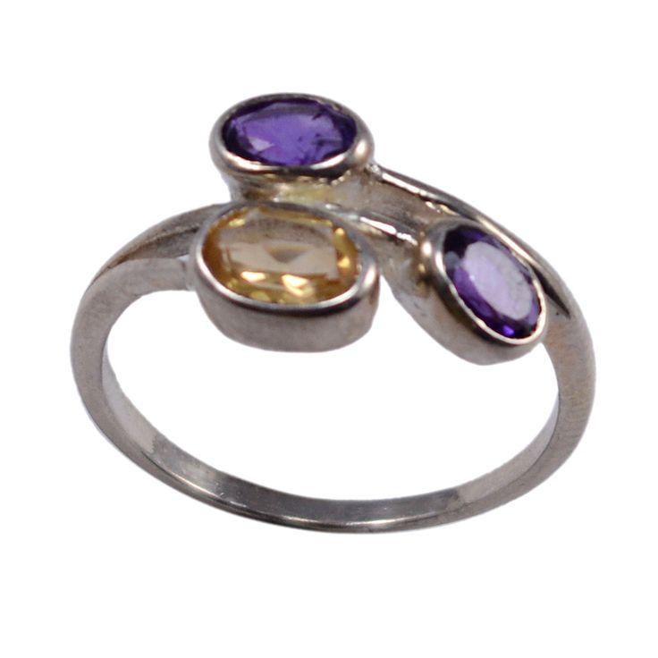 Silvestoo India Amethyst & Citrine Gemstone 925 Sterling Silver Ring Sz 7.25 PG-102935   https://www.amazon.com/dp/B06Y67YBLD